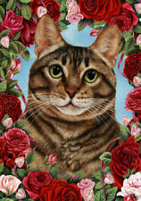 New listing Roses House Flag - Brown Tabby Cat 19954