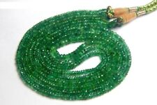 190 ct+ Heavy Designer 3 Strand Natural Emerald Cut Stone Beads 2*4 MM Necklace.