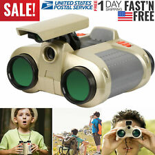 4X30 Kids Toy Night Vision Binoculars with Pop-Up Led Light Portable Neck Strap