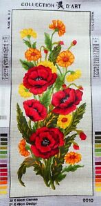 RED, YELLOW & GOLDEN FLOWER SPRAY - NEW TAPESTRY to Stitch - Collection D'Art