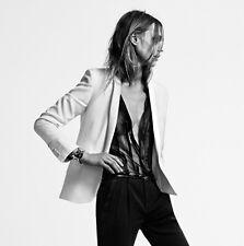 SAINT LAURENT $2,950 ivory silk satin shawl lapel tuxedo blazer jacket 44-F NEW