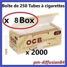 2000 TUBES à Cigarettes avec Filtres. OCB BIODEGRADABLES - 8 Boîtes de 250 Tubes