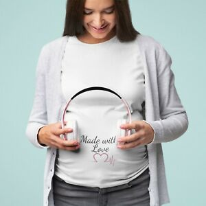 Baby Announcement T/Shirt Made With Love Gender Reveal Shower Gift Heartbeat