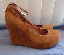 Jeffrey Campbell Cognac Suede Adelaide Platform Wedges w/ Ankle Strap Size 8.5