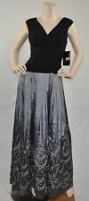 Ignite NWT V-Neck Embellished Taffeta Evening Party Dress Gown Black Silver 8