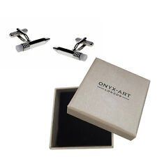 Mens Silver Pencil With Rubber Tip Cufflinks & Gift Box Stationary By Onyx Art