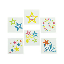 36 colorful GLOW IN THE DARK Star GIRL tea party TATTOOS Party Favors