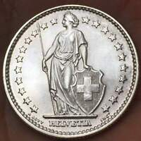 1965 B SWITZERLAND  2 Francs .835 SILVER HELVETIA ***UNC***  SWISS BU COIN