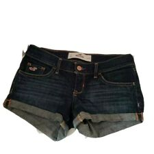 Hollister Womens Booty Short Shorts Blue Embroidered Pockets Denim Low Rise 24