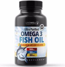 Omega 3 Fish Oil 1000mg Softgel Capsules EPA 330mg & DHA 220mg Double Strength