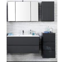 Badezimmermöbel Set Hochglanz grau 100cm Waschtisch LED Spiegelschrank Badmöbel