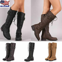 Womens Military Combat Knee High Boots Ladies Lace Up Buckle Riding Boots Shoes