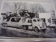 1939 FORD CARS AN TRUCKS ON CAR  HAULER  12 X 18  LARGE PICTURE  PHOTO