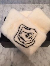 CHANEL CREAMY WHITE RABBIT FUR COLLAR w CAMELIA -BNIB!!! GORGEOUS COLLECTABLE!!!