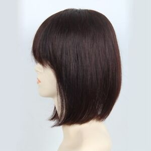 100% Real Remy Human Hair Topper Toupee Clip Hairpiece Bangs Top Wig For Women