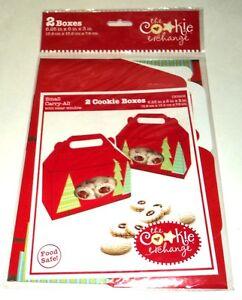 "The Cookie Exchange CHRISTMAS TREES 2 Cookie Boxes 6.25""x6""x3"" 15.9cmx15.2cmx7.6"