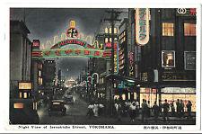 Night View of Isesakicho Street, Yokohama, Japan PPC, Airmail PMK to Dorset UK