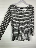 Style & Co Petite NEW Size PL Black Ivory Long Sleeve Top Shirt NWT