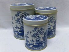 WHITE BLUE WILLOW CANISTER TINS ASIAN CHINESE JAPANESE ORIENTAL PAGODA 3 SIZES