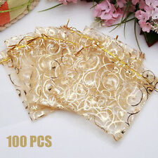 100pcs 7*9cm Organza Jewelry Gift Candy Pouch Bags Wedding X-mas Party Favor Dec