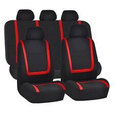 Universal Full Set Car Seat Covers Polyester For Auto Truck Van SUV 5 Heads Red
