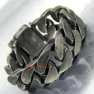 Heavy Vintage Men's Chain Curb Cuban Link Gunmetal Stainless Steel Bracelet 25mm