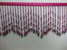 Metallic Bead Fringe,sold by yards ,4 inches ,HOT PINK