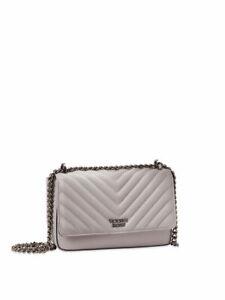 Victoria's Secret Pebbled Gray V-Quilt Street shoulder Bag Chain Strap Purse