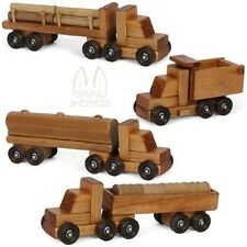 Four Wooden Toy Truck Set Log Barrel Tanker Dump Truck Wood Tractor Trailer Usa