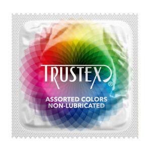 Trustex Assorted Colors Non-Lubricated Latex Condoms - Choose Quantity