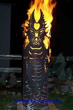 FE1-0184 Feurerdrache Feuerkorb Feuersäule Feuerskulptur Drache Rost