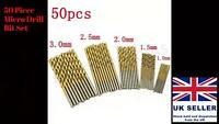 50 x Micro Round Shank Drill Bit Set Small Precision HSS Twist Drill Tool Dremel