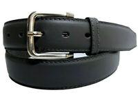 Vero Uomo Cintura da Jeans Nero 4 cm Cintura Classic Fibbia Jeans Nuovo