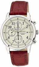 Seiko Men's SNDC31 Classic Stainless Steel Chronograph Watch with Brown Leath...