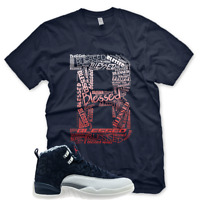 "New ""B"" BLESSED T Shirt for Jordan 12 INTERNATIONAL FLIGHT NAVY RED 3 5"