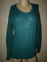 St. John's Bay Sweater Women's Large Long Sleeve V-Neck Teal Green