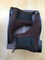 NEW GUCCI MENS BOOTS BROWN LEATHER ANKLE CHELSEA UK 10.5 44.5