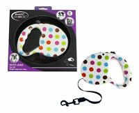 3m Auto Retract Dog Lead Polka Dot Pet Walking Dogs Puppy Lead up to 20kg