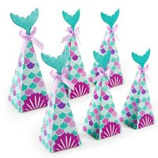 10pcs Mermaid Party Boxes Gift Bags Stickers Birthday Baby Shower Party Decor