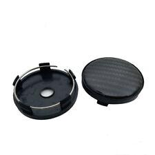 4x Black Carbon Fiber Car Auto Wheel Hub Center Caps Cover Plastic 60mm