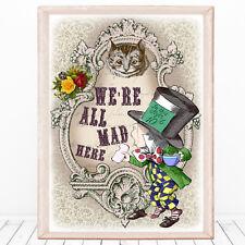 Alice In Wonderland, We're All Mad Here, Wall Art, Nursery print, Unframed, Gift