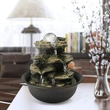 Tabletop Water Fountain Zen Meditation Indoor Waterfall Feature with LED Light