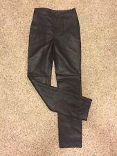 Michael Hoban North Beach Leather Black Lambskin Straight Leg Slim Pants Size 4