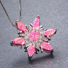 Flower Style Fire Rose Pink Rainbow Fire Opal Gemstone Silver Necklace Pendants