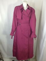 London Fog by Wamsutta Womens Cranberry Red Trench Coat Size 16