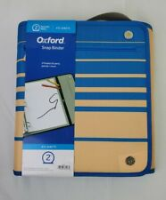 Oxford Zipper Open Tab And Snap Binders 475 Sheets 2 Round Ring Tan Blue