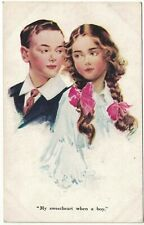 "Artist Drawn Vintage Postcard ""My Sweetheart When A Boy"" -  Children Romance"