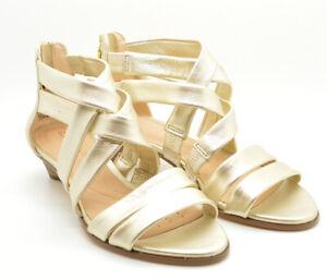 Clarks Mena Silk Champagne Kitten Heel Gladiator Leather Sandals Size 7 New NWT