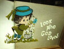 LOOK WHO GOD LOVES framed wall mirror 1970s cartoon Christian bouquet