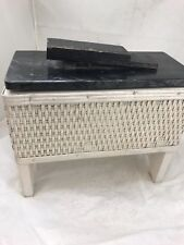 Vintage Antique Wicker Shoe Shine Care Chest Kit Wood Box With Foot Stand